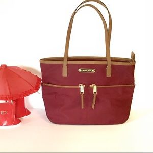 Michael Kors Shoulder Tote Bag Deep Red & Tan